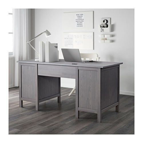 Hemnes Desk Dark Gray Gray Stained 61x25 5 8 Grey Desk Ikea