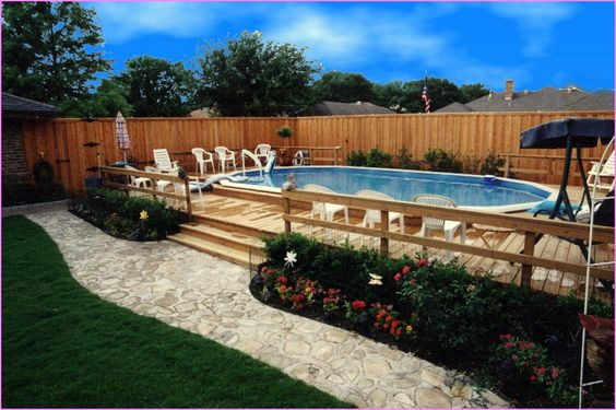 Above ground pool landscaping best home design ideas for Above ground pool decks and landscaping