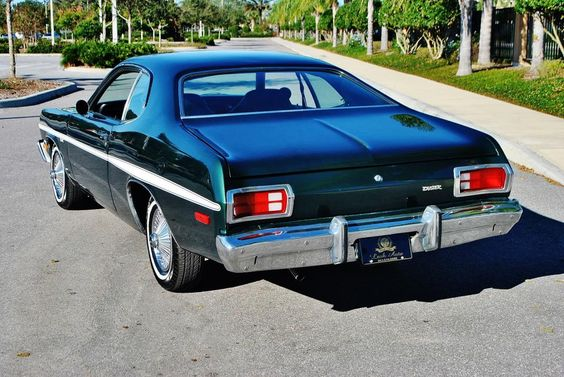 1975 Plymouth Duster in Deep Sherwood Metallic with just 26,960 miles.