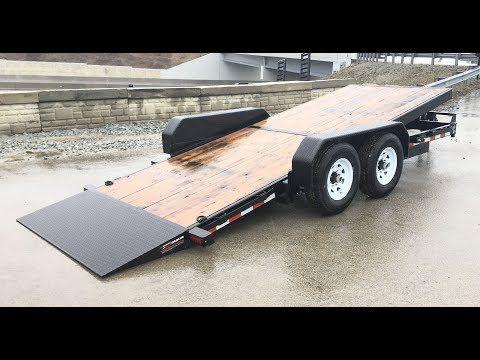 Sure Trac 7x18 Gravity Tilt Lowboy Equipment Trailer 14000 Gvw St8218fwte B 140 Youtube Equipment Trailers Car Hauler Trailer Tilt Trailer