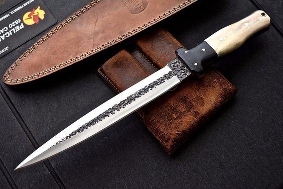 CFK USA iPAK Custom Handmade HAMMERED D2 STILETTO Dagger Short Sword Bone Knife in | eBay