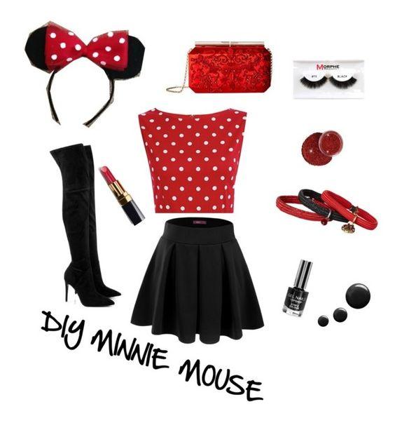 """DIY Minnie Mouse"" by anju-vadlamudi ❤ liked on Polyvore featuring Doublju, Marc Jacobs, Oscar de la Renta, Kendall + Kylie, Chanel, Morphe, halloweencostume and DIYHalloween"