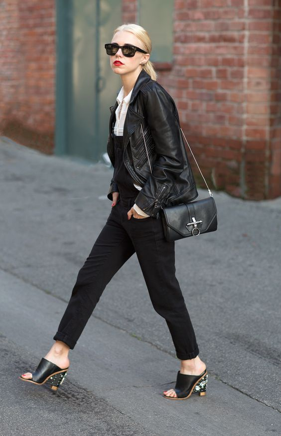 Overalls paired with mules #heels // #StreetStyle