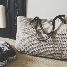 Lovely and practical crocheted tote.