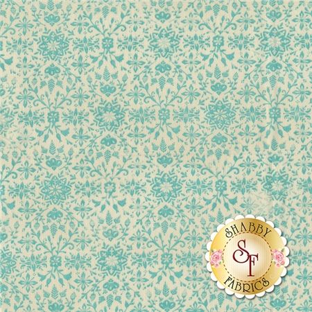 Evergreen 30405-14 Winter by BasicGrey for Moda Fabrics: Evergreen is a collection by BasicGrey for Moda Fabrics. This fabric features an aqua snowflake and floral design on a cream background.Width: 43