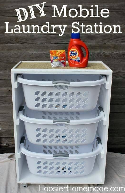 three plastic wash baskets pull out drawers in a stand  DIY Mobile Laundry Station,  This would be cool to do in the bedroom so we wouldn't have to sort clothes later!   February 2015