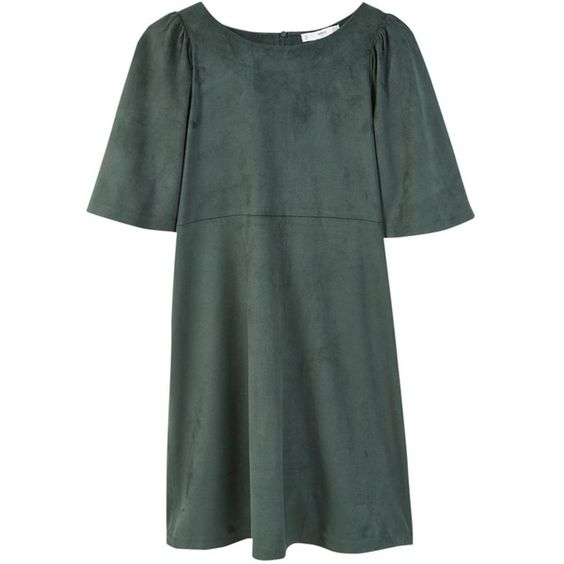 Mango Flared Sleeves Dress, Green (70 CHF) ❤ liked on Polyvore featuring dresses, maxi dress, green mini dress, bell sleeve dress, short sleeve maxi dress and short-sleeve dresses