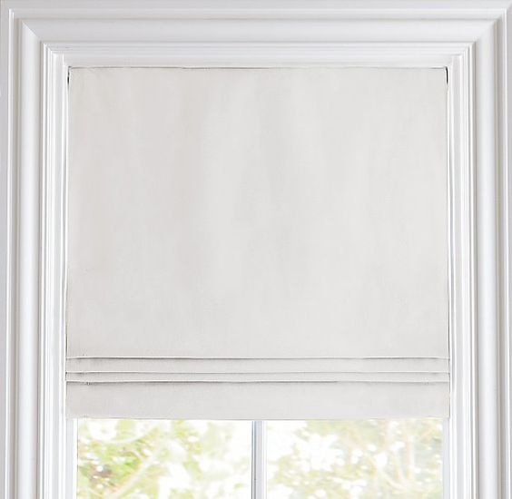 Linen cotton cordless roman shade roman shades for Restoration hardware window shades