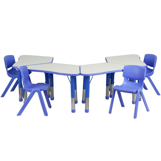 Flash Furniture YU-YCY-091-0034-TRAP-TBL-BLUE-GG Blue Trapezoid Plastic Activity Table Configuration with 4 School Stack Chairs