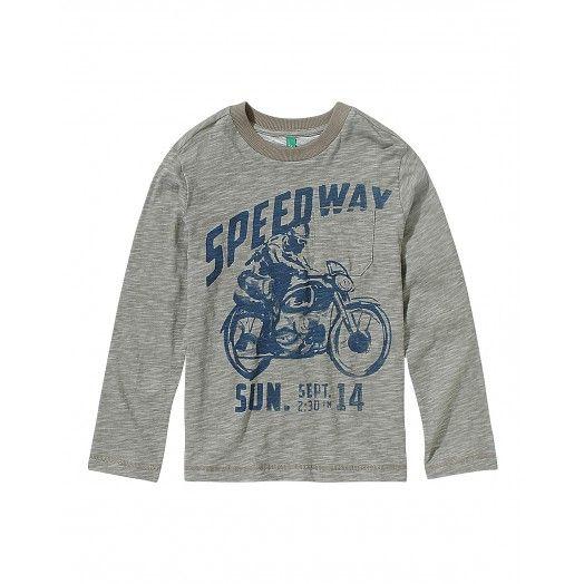 T-shirt maniche lunghe, girocollo, in jersey di cotone fiammato con stampa frontale.3EM0C111X GREY