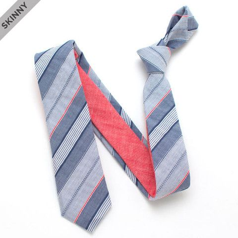 Rail Yard Stripe & 1950s Cardinal Slub Skinny Necktie - vintage ties handmade in the United States