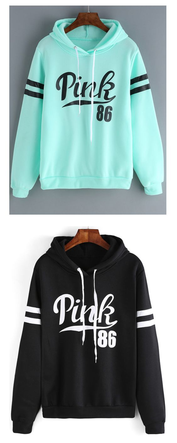 Green Drawstring Hooded Letters Print Sweatshirt