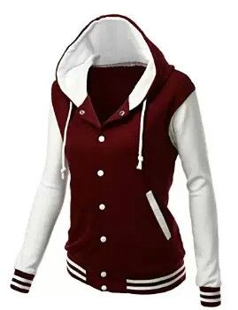 Burgundy and White Varsity Jacket for Women Only | Sweatshirts and ...