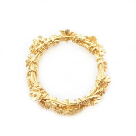 Crown of Flowers Gold Plated Ring. Simple