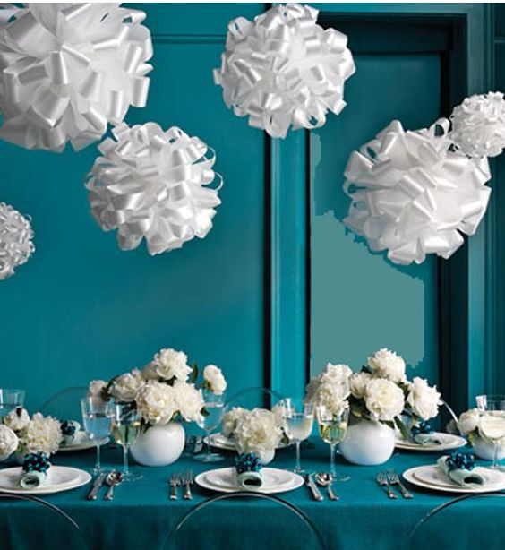 Teal table decor centerpieces and fundraising for Teal wedding theme ideas