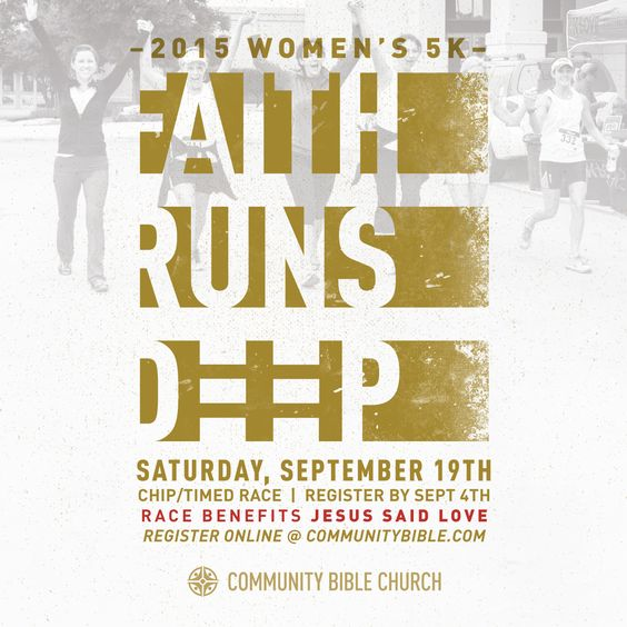 Ladies, lace up your running shoes! The Faith Runs Deep 5K will be Saturday, September 19th!