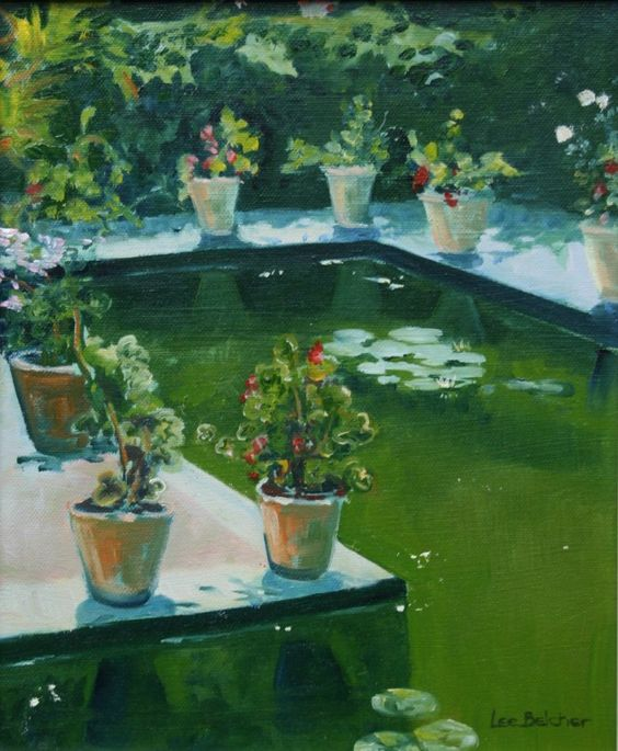The Lily Pond . Oil on canvas . Lee Belcher