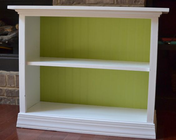 Wooden Two Shelf Bookcase - White with Grass Green bead board backing -  Hand Painted on