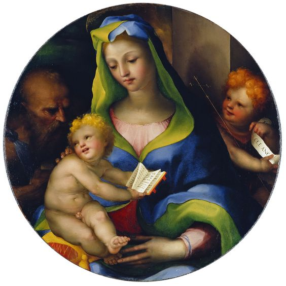 The Virgin and Child with the Infant Saint John and Saint. Jerome - Domenico Beccafumi   Museo Thyssen