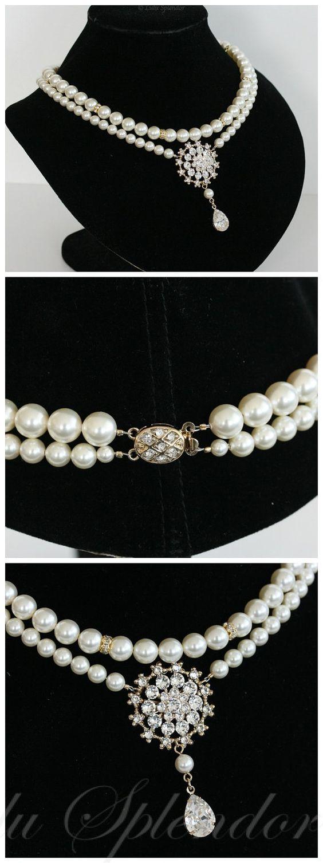 Hochzeit Halskette Classic Pearl Bridal Halskette Swarovski Crystal Strass Anhänger Double Strand Gold oder Silber Hochzeit Schmuck ALICE GR...