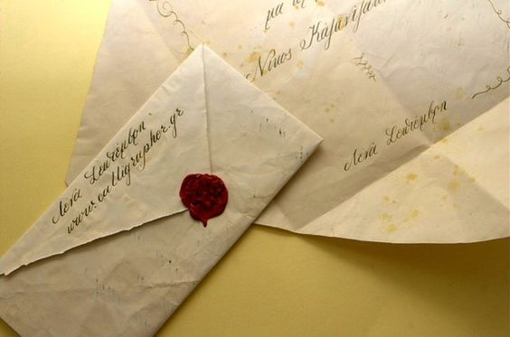Can someone say Downton Abbey style? Vintage calligraphy invitation with wax seal. Etsy shop: http://www.etsy.com/shop/LenaSeptemvri?ref=top_trail