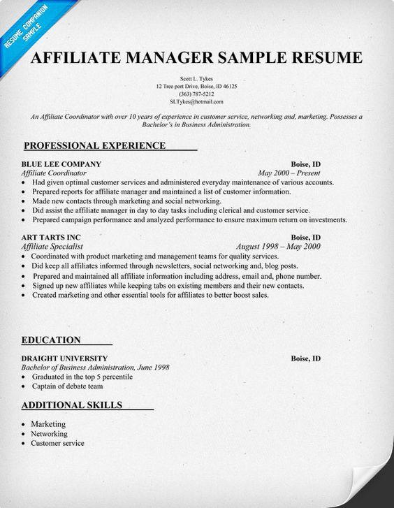Affiliate Sales Sample Resume] Professional Affiliate Marketing