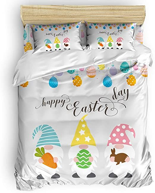 California King Size Duvet Cover Set Happy Easter Gnomes Carrrot Rabbit Colorful Eggs Bedding Sets Duvet Cover Sets King Size Duvet Covers Decorative Bedspread