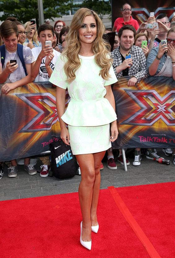Pin for Later: See Everything Cheryl's Worn on The X Factor So Far The X Factor Auditions in Wembley Arena, August 2014 For the London auditions, Cheryl arrived wearing a green peplum top and a jacquard miniskirt (£235) by 3.1 Phillip Lim.
