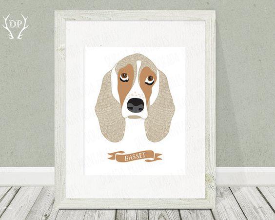He encontrado este interesante anuncio de Etsy en https://www.etsy.com/es/listing/189667280/basset-hound-dog-breeds-print-art