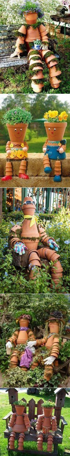 Забавные фигурки для сада из цветочных горшков - Садоводка