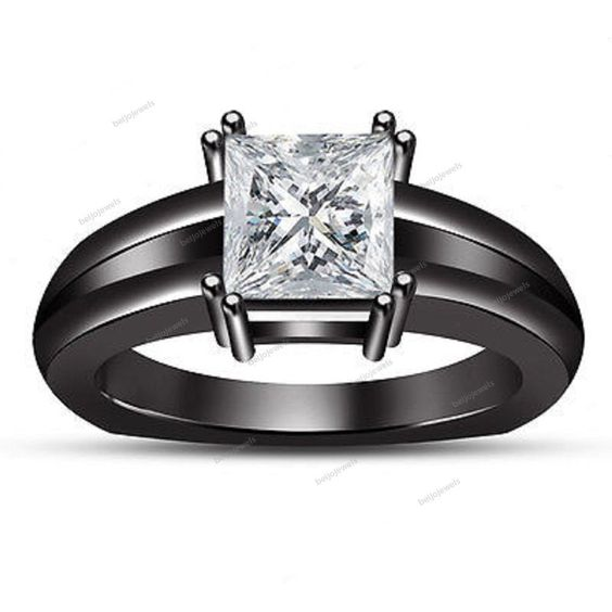 14K Black Gold Finish Solitaire Princess White Simulated Diamond Women's Ring…