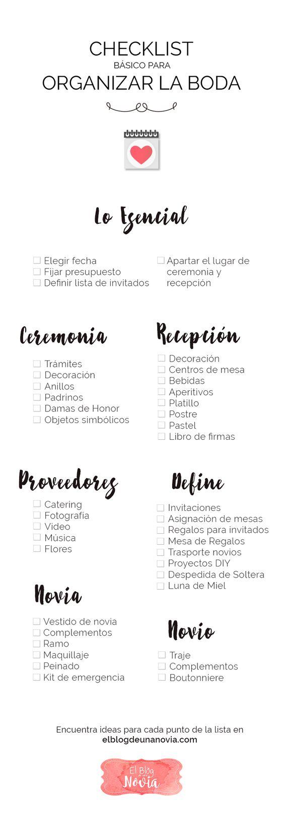 Checklist para Organizar la Boda | El Blog de una Novia | #infografía #boda