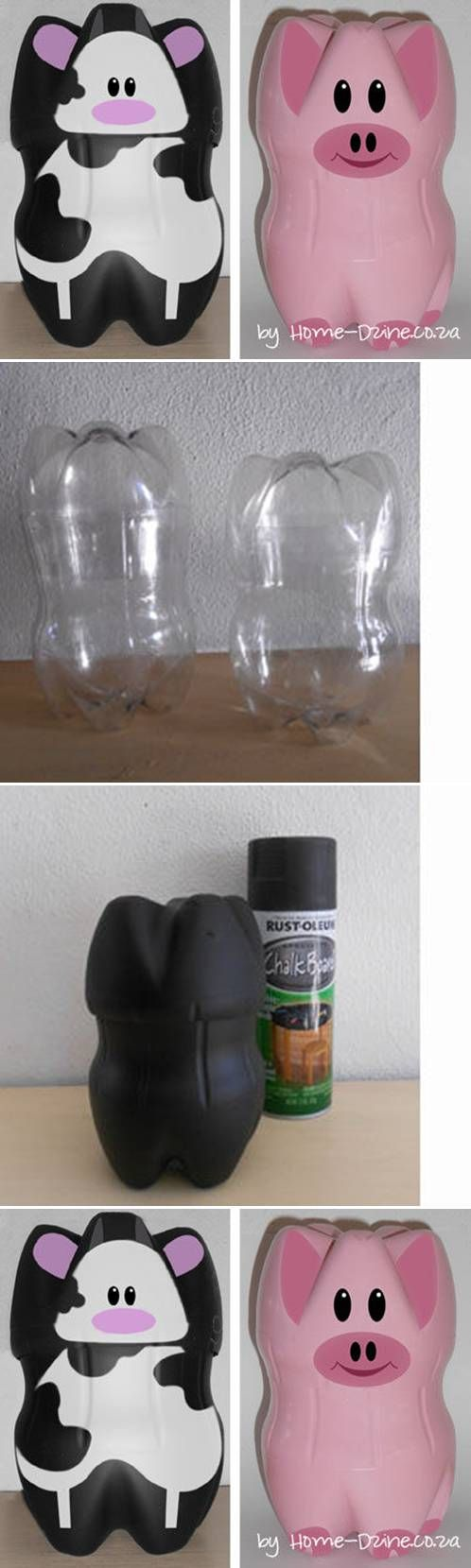 How to make cute piglets with plastic water bottles step for Diy plastic bottle