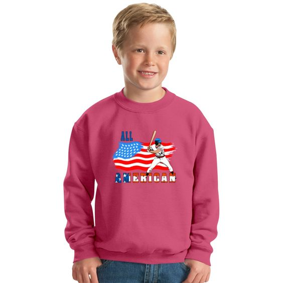 All American BaseBall Player Kids Sweatshirt