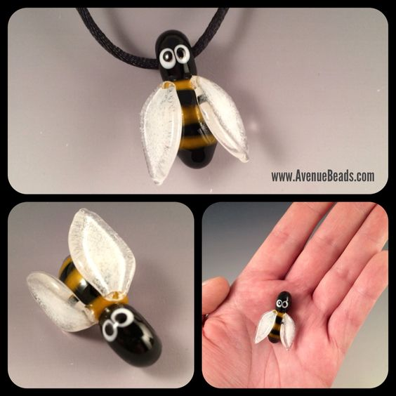 Bumble bee glass bead
