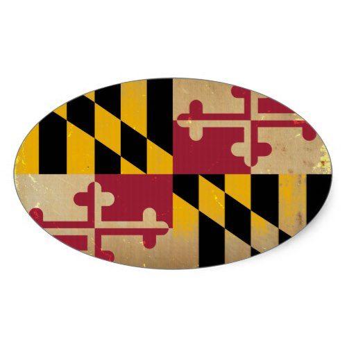 Maryland Flag Vintage Png Oval Sticker Zazzle Com In 2020 Maryland Flag Maryland Flag Art Rock Painting Designs