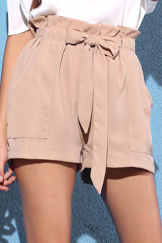 Pocket And Bowknot Design Chiffon Shorts NUDE: Shorts   ZAFUL
