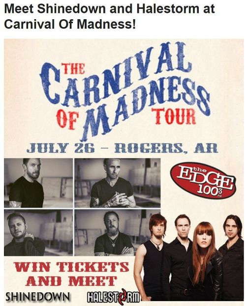 Win Tickets and Meet @Shinedown and @Halestorm in Rogers AR!...