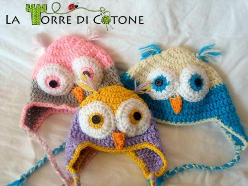 baby hats collection/Cappelli: il gufetto cappelli, crochet, cuffietta neonato, uncinetto, cappello gufo