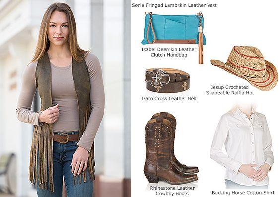 Sonia Fringed Lambskin Leather Vest by Overland Sheepskin Co. (style 23769)