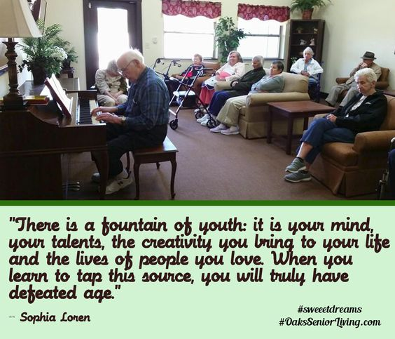 """#sweetdreams """"There is a fountain of youth: it is your mind, your talents, the creativity you bring to your life and the lives of people you love. When you learn to tap this source, you will truly have defeated age."""" -- Sophia Loren  #quotes #age #seniors ~OaksSeniorLiving.com"""