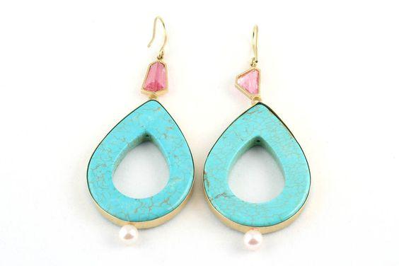 Turquoise, Diamond, Pink Tourmaline 18 Carat Earrings | rockofeden.com #rockofeden #findbeautyinallthings #accessories #turquoise #diamond #tourmaline #earrings