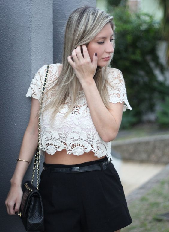 cropped top de renda
