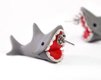 Handcraft Polymer Clay Cute Shark Biting Ears Stud Color Grey