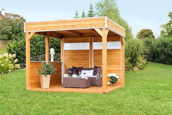 Hollywoodschaukel mit pavillon  Pavillon SKANHOLZ Toulouse 4-Eck Pavillion Holzpavillon - Perfekt ...