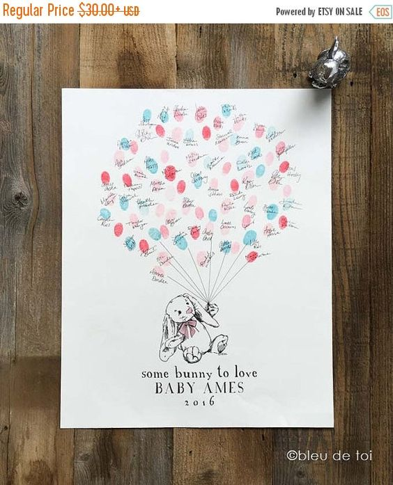 ON SALE Guest Book Alternative Bunny Love Thumbprint by bleudetoi