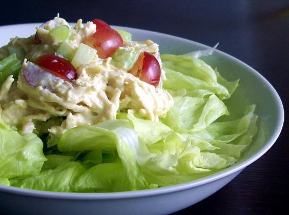 Curried Chicken Salad with Grapes and Almonds (made with greek yogurt instead of mayo)