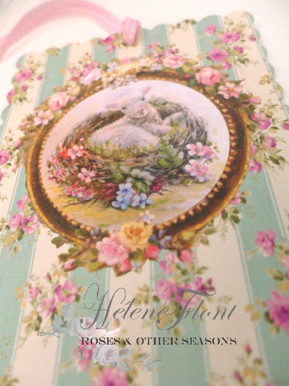 CARTE FESTONNEE  et RUBAN -  print - Pâques - L'agneau souriant  niché dans un nid d'oiseau , myosotis, mouton,Faire part naissance
