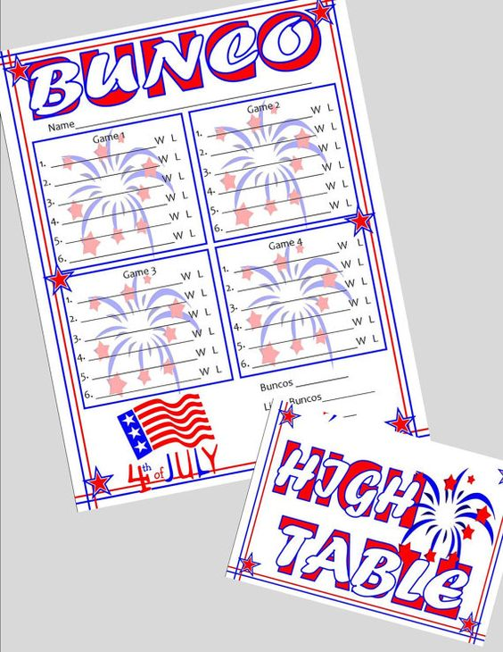 4th of july bunco score cards
