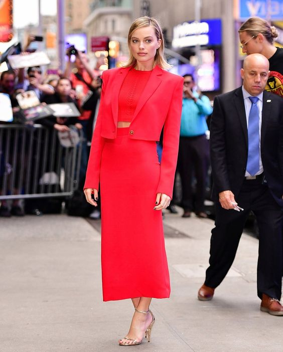 Margot Robbie is seen arriving at Good Morning America on October 11, 2017 in New York City.